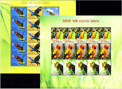 INDIA 2016 EXOTIC BIRDS, Set of 2 Different Sheetlets