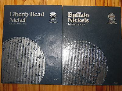2x Whitman coin folders USA Buffalo & Liberty nickels 1883 to 1938 with 24 coins