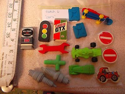 15 vintage novelty collectable pencil erasers ( rubber ) car related