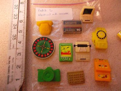 10 vintage novelty collectable pencil erasers - electrical with audio cassette