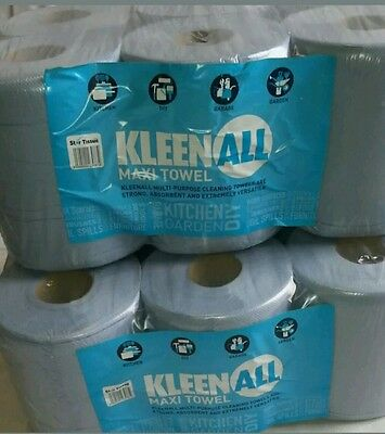 6 Rolls blue Centre feed Rolls Embossed 2ply Wiper Paper Towel Kitchen Roll