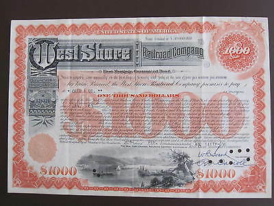 New York Central And Hudson River , Railroad Company $1000 Regist. Bond See Scan