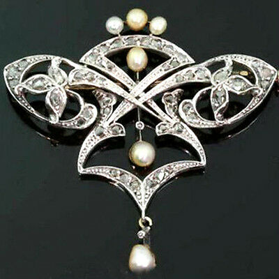 Victorian Antique 1.90ctw Rose Cut Diamond & Pearl 925 Silver Brooch/pendant