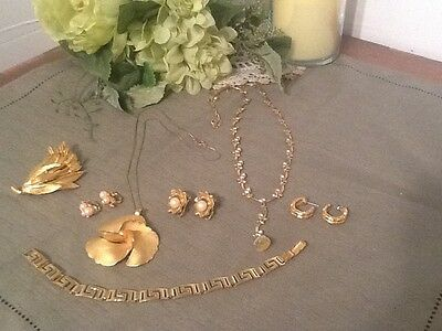 Seven piece Vintage lot of necklaces and more, three are signed
