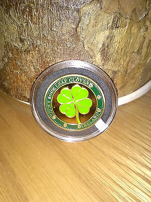 Irish Shamrock 4 Leaf Clover Coin with map of Ireland in Case With Free Bookmark