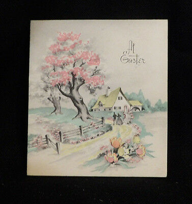 #961 Vintage 1940s Victorian Couple Walking on Country Road by House Easter Card