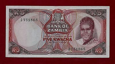 Zambia 5 Kwacha 1973 P-15 EF++ EXTREMELY RARE BANKNOTE