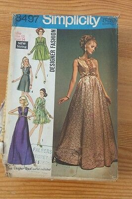 Vintage Sewing Pattern Simplicity 8497 Cocktail Dress Size 12 Bust 34 long Short