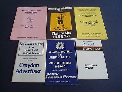 A Collection of Six Football Fixture Cards ~ Listed