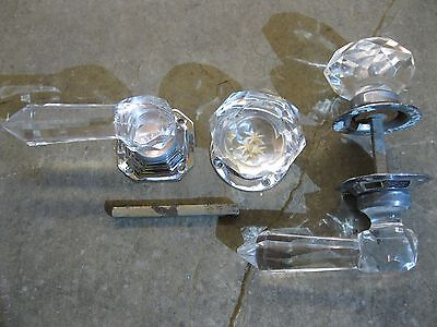 2 Pairs Original Reclaimed Large Lucite Faux Glass Lever Handles and Knobs 0199