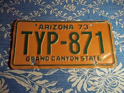 License Plate, 1973 Arizona Grand Canyon State TYP-871