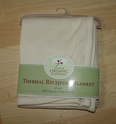 """NEW 100% Organic Cotton Thermal Receiving Baby Blanket Natural 40"""" x 30"""""""