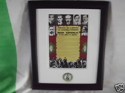 Irish Republican Framed Picture With Real Badge Dublin 1916 Related New Release1
