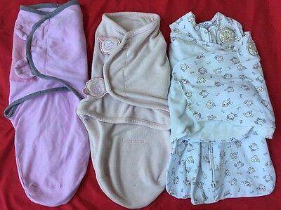 Lot Of 3 Sleep Sacs SwaddleMe Kiddopotamus Velcro Safe Sleep Newborn EUC