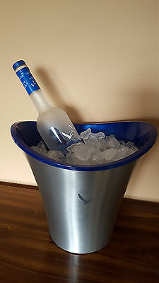 Grey Goose Ice Bucket Chiller Silver Metal Blue Double Cooler