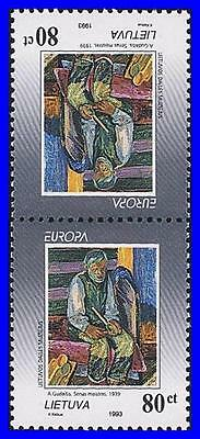 LITHUANIA 1993 EUROPA-CEPT / PAINTINGS tete-beche mnh (K-LM-DEC)