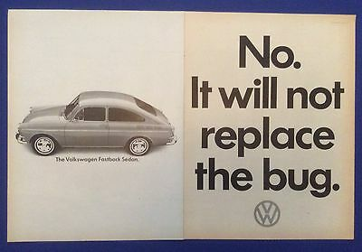 Vintage Print Ad for 1965 VOLKSWAGEN FASTBACK SEDAN It Will Not Replace the Bug
