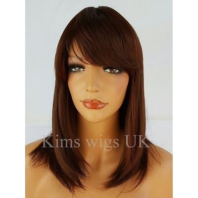 Full Womens Ladies Fashion Hair Wig Two Tone Red Longer Length Face Frame Bob