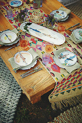 *NEW* Anthropologie Fish Festa Canape Plate Set ~ Full Set 6 Plates WITH Platter