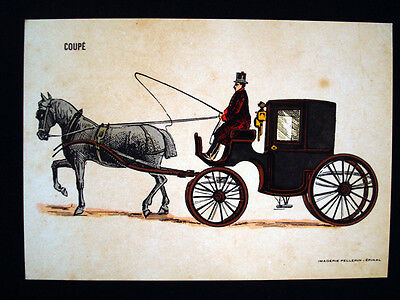 Vintage French Imagerie Pellerin d'Epinal Horse, Carriage and Car Postcards InvC
