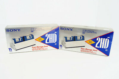 "SONY 3.5"" Micro Floppydisks 2HD Free Storage Case 15 Disks NEW 2 Boxes 30 Total"