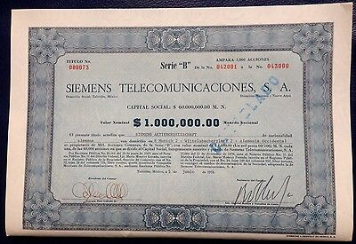Mexico - Siemens Mexico Stock Certificate issued to the German Siemens AG - Rare