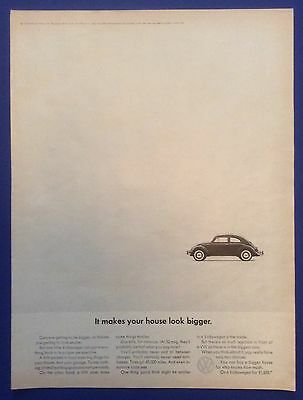 Vintage Print Ad for 1964 VOLKSWAGEN BEETLE It makes your house look bigger