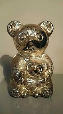 Vintage Silver Plated Mummy and Baby Bear Money Box
