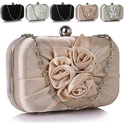 New Women Boxed Satin Clutch Bag Bridal Designer Ladies Evening Flower Party UK