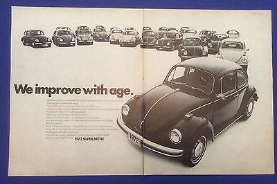 Vintage Print Ad for 1972 SUPER BEETLE We improve with age