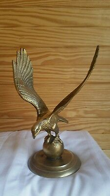 Solid Brass Bald Eagle on Ball Stand Statue Figure Vintage Library Mantle Piece