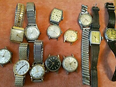 Lot of vintage wrist watches parts repair mens Gold rolled Bulova Timex Swiss
