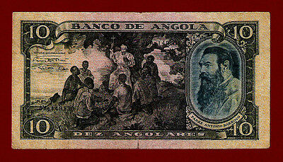 Portugal Portuguese Angola 10 Angolares 1947 P-78 F+ ( WEST AFRICA EQUATORIAL )