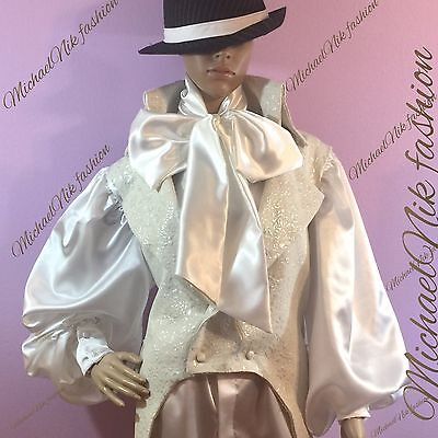 Men's Satin Cravat Shirt White Steampunk Dress Shirt Gothic Cosplay Retro