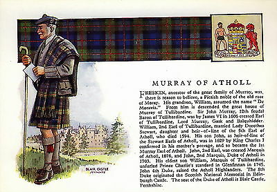 Vintage Print SCOTTISH Clan MURRAY Genealogy Coat of Arms History Gift Matted
