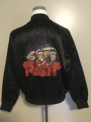 Vintage Original 1983 Ratt Black Satin Jacket Large Rock Band Tour Metal Rare