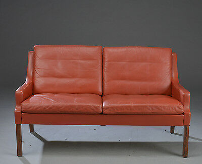 VINTAGE RETRO DANISH RUD THYGESEN 2 SEATER LEATHER AND ROSEWOOD SOFA 1970s