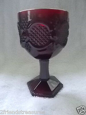 Avon Cape Cod Ruby Red Large Water Goblet 6 Inches tall 3 1/2 inch Wide Vintage