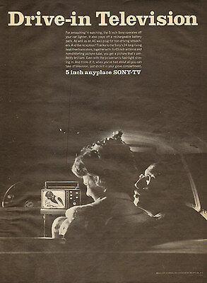 """1960s vintage Television AD DRIVE IN TV ! 5"""" Sony Portable TV 042216"""