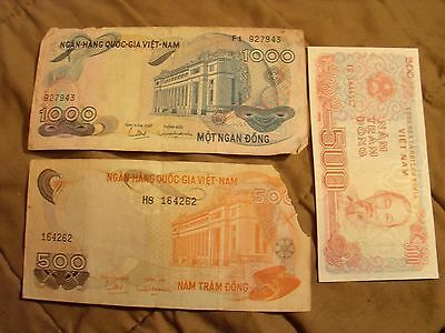 3 Banknotes From Vietnam Lot #3
