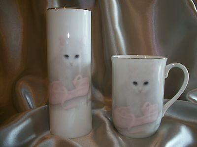 Otagiri Japan Bob Harrison Kitten With Ballet Slipper Cup/Mug & Bud Vase