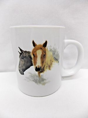 Horses Two Brown & Black Porcelain Coffee/Tea Cup 3 3/4 Inch T Decal Front/Back