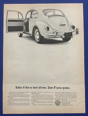 Vintage Print Ad 1965 VOLKSWAGEN BEETLE Take it for a test drive