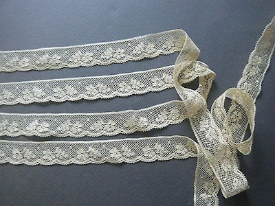 vtg lot 4.5y Valenciennes lace trim floral desin edging cotton French dolls