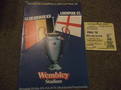 1978 European Cup Final Brugge V Liverpool Programme & Ticket @ Wembley 10Th May