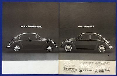 Vintage Print Ad 1971 VOLKSWAGEN BEETLE If this is the 1971 Beetle, what's this?