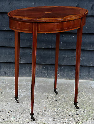 Fine Quality Edwardian Inlaid Oval Occasional Table