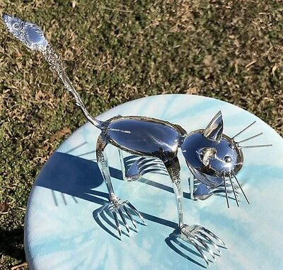 Cat Spoon Sculpture Figurine From Vintage Silverplate Flatware