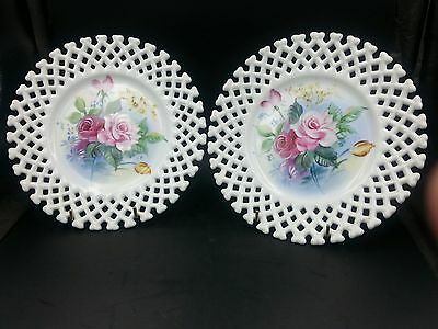 Vintage Pair of Lefton China Hand Painted Reticulated Pink Rose Wall Plates 6350