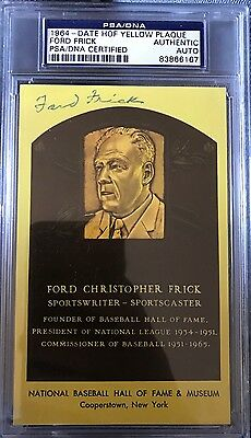 FORD FRICK signed HOF Plaque Slabbed PSA